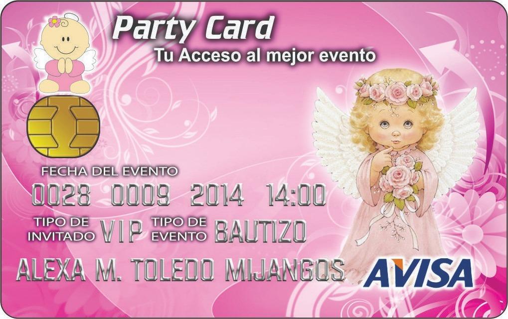 90 Invitaciones Pvc Tipo Tarjeta De Crédito Bautizo 3 Años