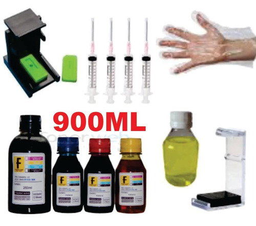 900ml kit tinta recarga cartucho hp 664 662 122 60 75 901 xl