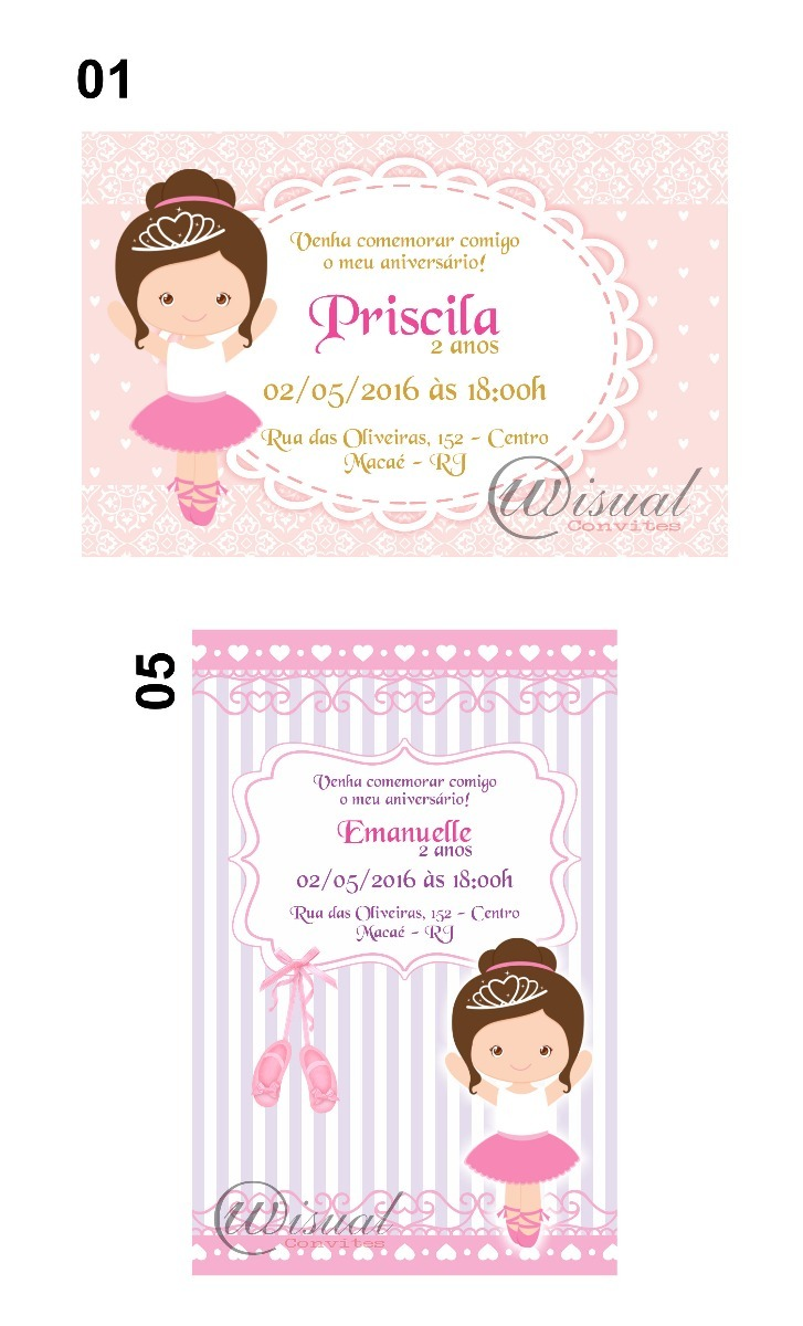 b4379769f3 90un - convite infantil bailarina cute - 7x10cm. Carregando zoom.