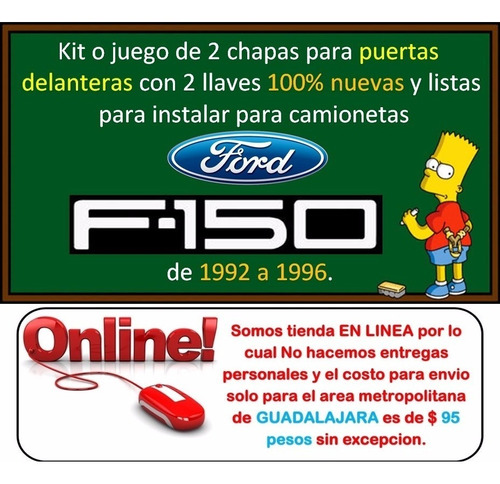 92-96 ford f150 chapas para puertas con llaves