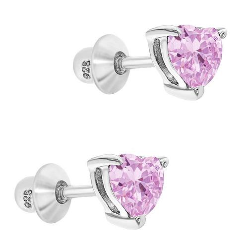 925 sterling silver heart baby earrings screw back niñas.
