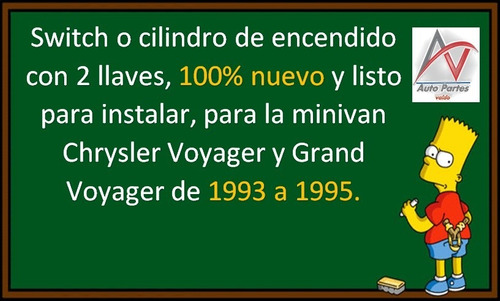 93-95 chrysler grand voyager switch de encendido con llaves