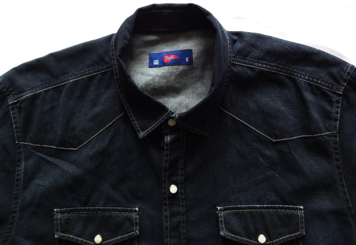 941 - camisa jeans pool manga longa tamanho g. Carregando zoom. 457e2a6ab01ce