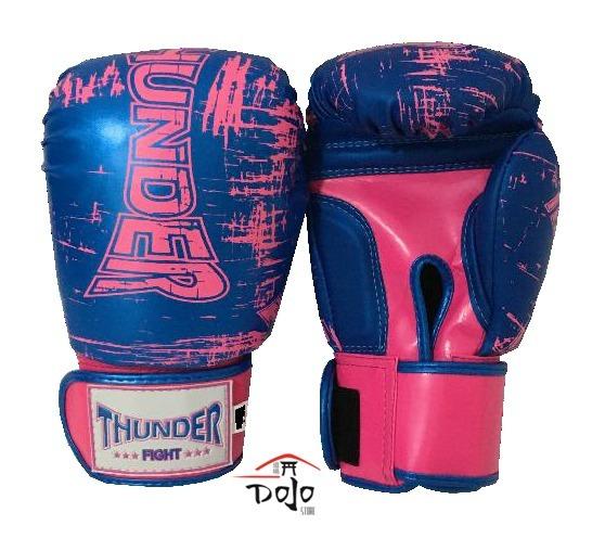 319af5bd9 946 Luva Boxe   Muay Thai Thunder Feminina Azul E Rosa 12oz - R  119 ...