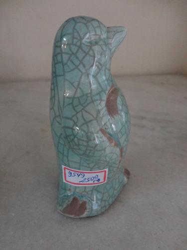 #9549# porcelana - pinguim decorativo azul craquelado!!!