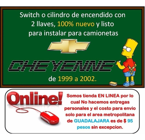 99-02 chevrolet cheyenne switch de encendido con llaves