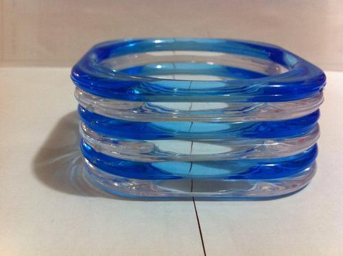 Kit Com 6 Pulseiras De Plástico Azul / Transparente Original