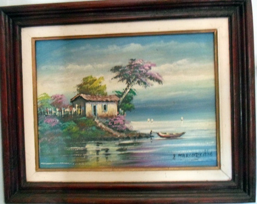 Pintura A Óleo Sobre Tela - Paisagem Marinha. Original