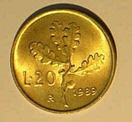 Itália - Moeda De 20 Liras De 1.989 - Fc   12,00. Original