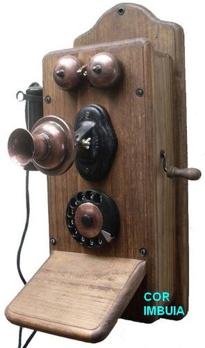 Telefone De Parede Antigo Papai - Artesanal Original
