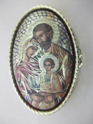 B. Antigo - Caixinha Sacra Com Imagem De Jesus, Maria E José Original