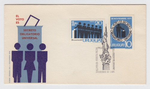 Dg- Uruguay Sobre Con Sellos 1er Dia Alusivos Al Voto 1971