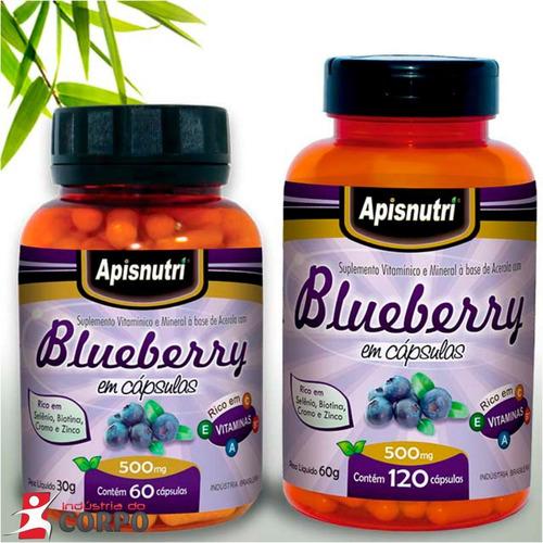 Blueberry 500 Mg 180 Capsulas Apisnutri Original