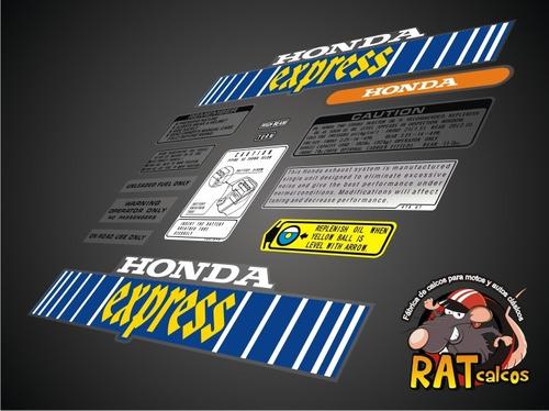 Calco Moto Honda Express / Kit De 14 Calcos