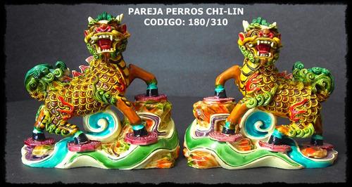 Pareja De Chi-lin (proteccion) 9 X 9,5 Cm Feng Shui (nuevo)