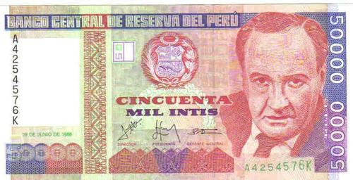 Peru - 50.000 Intis - 1.988 - Fe.     12,00 Original