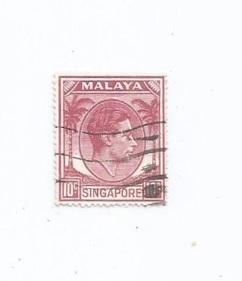 Selo Singapura,selo Rei George 6°,10c 1950, Descr. Original