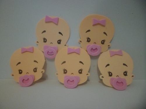 Kit 10 Aplique Cabeças De Bebê  Em E.v.a Original