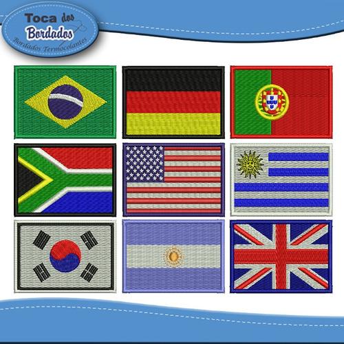 Kit 3 Mini Bandeira Bordada Estados E Paises 3x4,5cm Patch