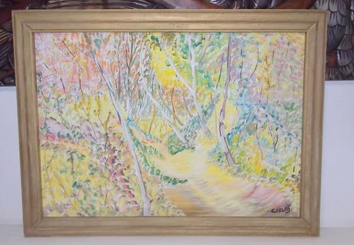 Quadro Impressionista Óleo Sobre Tela Caminho Na Floresta
