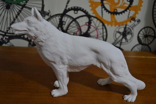 Escultura Cão Pastor Alemão Po Marmore 16cm Made In Italy
