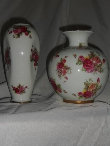 384- Juego De 2 Floreros Porcelana Tsuji De 18 Y 17 Cm
