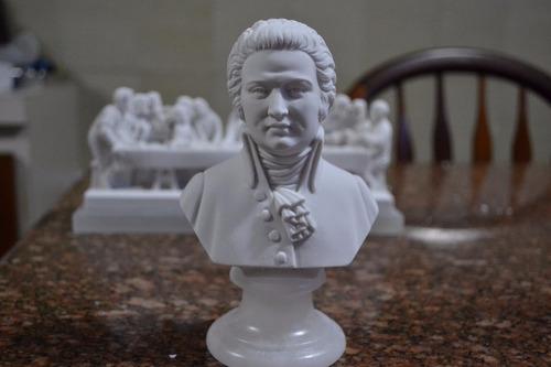 Escultura Busto Mozart Po Marmore 15cm Made In Italy