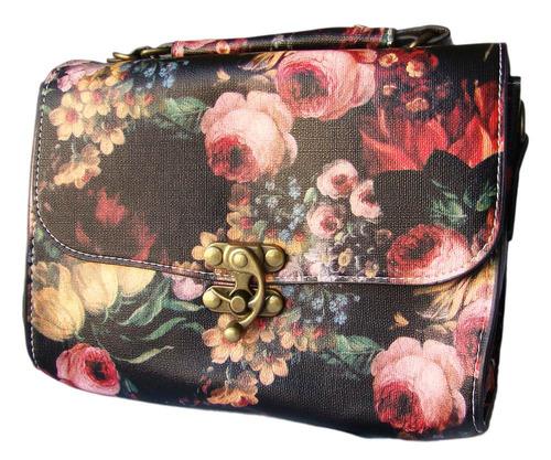 Bolsa Clutch De Mão Ou Ombro Estampa Floral Pintura À Óleo Original