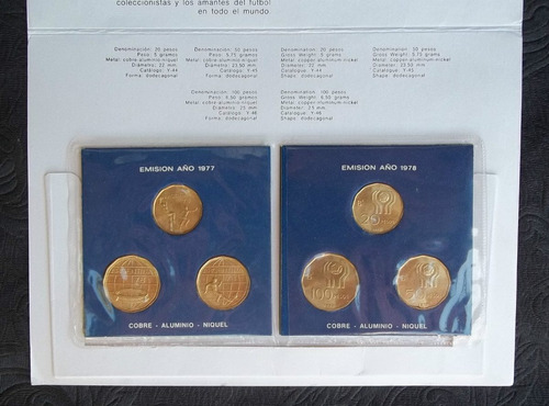Blister Con 6 Monedas Bronce Mundial Argentina´78 Nuevas