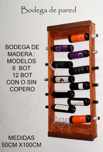 Bodega De Pared De Madera Para Vinos 60x70 O Más Medidas