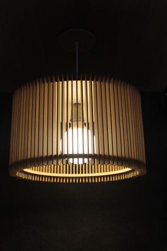 Lampara Colgante Madera Diseño Mdf Mod Recta Luminica