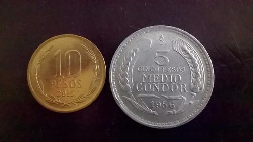 Moneda Cinco Pesos Medio Condor Aluminio 1956 (p04)