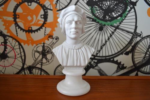 Escultura Busto Nicolau Maquiavel Po Marmore 15cm Made Italy