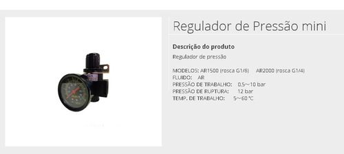 Regulador De Pressão 1/4 - Ar 2000 Original