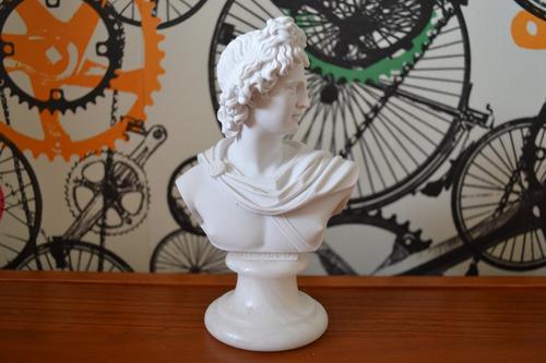 Escultura Busto Deus Apolo Grecia Po Marmore 15cm Made Italy