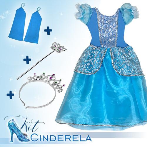Vestido Fantasia Infantil Cinderela Coroa + Luvas + Varinha