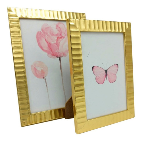 2 Porta Retratos Gold Sala Quarto Luxo 10x15 13x18