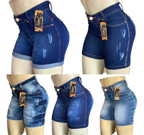 Kit 5 Short Bermuda Jeans Feminino. Atacado. Elastano Lycra