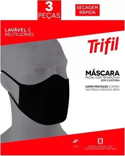 Máscara Tecido Lavável Dupla Preta (c/03 Unds) Trifil / Lupo
