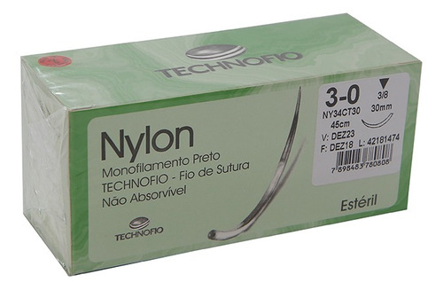 Fio De Sutura  Nylon 3-0 45 Cm Estéril No-absorvível Cx 24