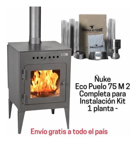 Estufa Calefactor A Leña Ñuke Eco Puelo+ Kit Inst. 1 Pta