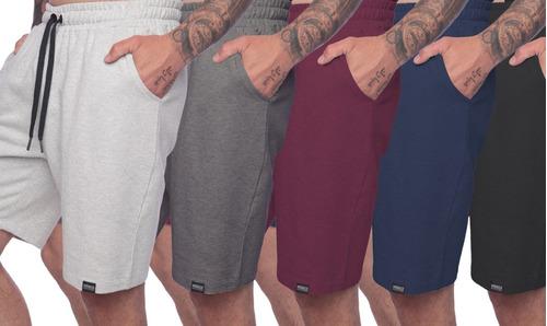 Kit 5 Shorts Moletom Liso Com Amarração Academia Treino