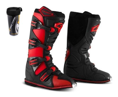 Bota Motocross Pro Tork Combat 4 Trilha Enduro Com Brinde
