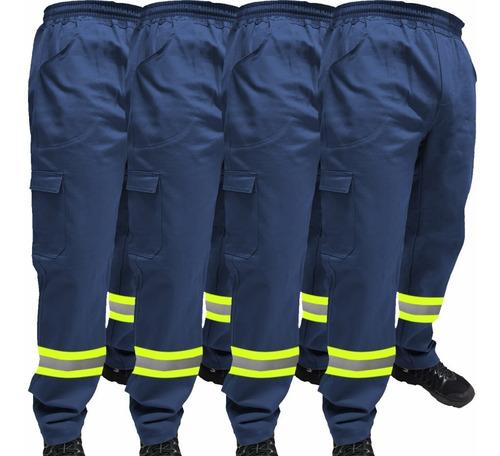 Kit 4-calça De Uniforme Brim Pesado - Com Faixa Refletiva