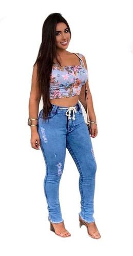 Calça Jeans Feminina Luxo Baratas Cintura Alta