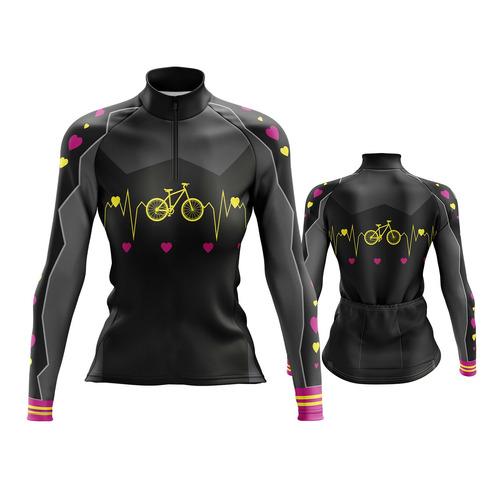 Camisa Ciclismo Feminina M.longa Bicicleta Coração