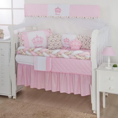 Jogo Berço Kids Infantil Menina Pink E Rosa 12pçs Com Saia