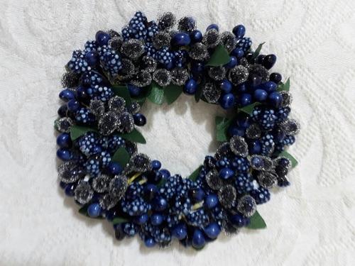 Mini Guirlanda De Natal Para Porta Azul  Anúncio Com 3 Fotos