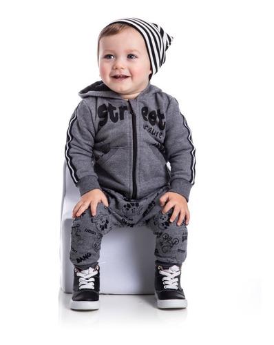 Roupa De Bebê Menino Conjunto Moletom Capuz Dinossauro Frio