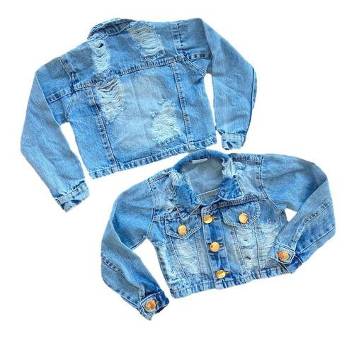 Jaqueta Jeans Infantil Menina Blogueirinha Destroyed Luxo